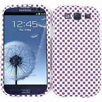 For Samsung Galaxy S III 3 S3 Hard Case Purple White Checkers Snap on Cover