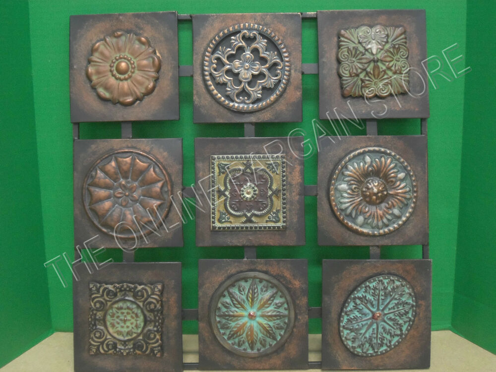 Square metal wall hanging home accent decor art floral for Wall decoration items