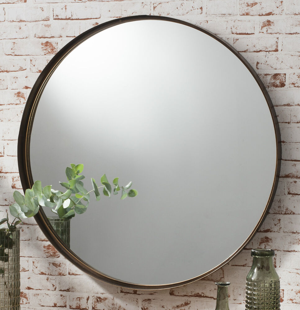 Greystoke Large Bronze Round Wall Mirror