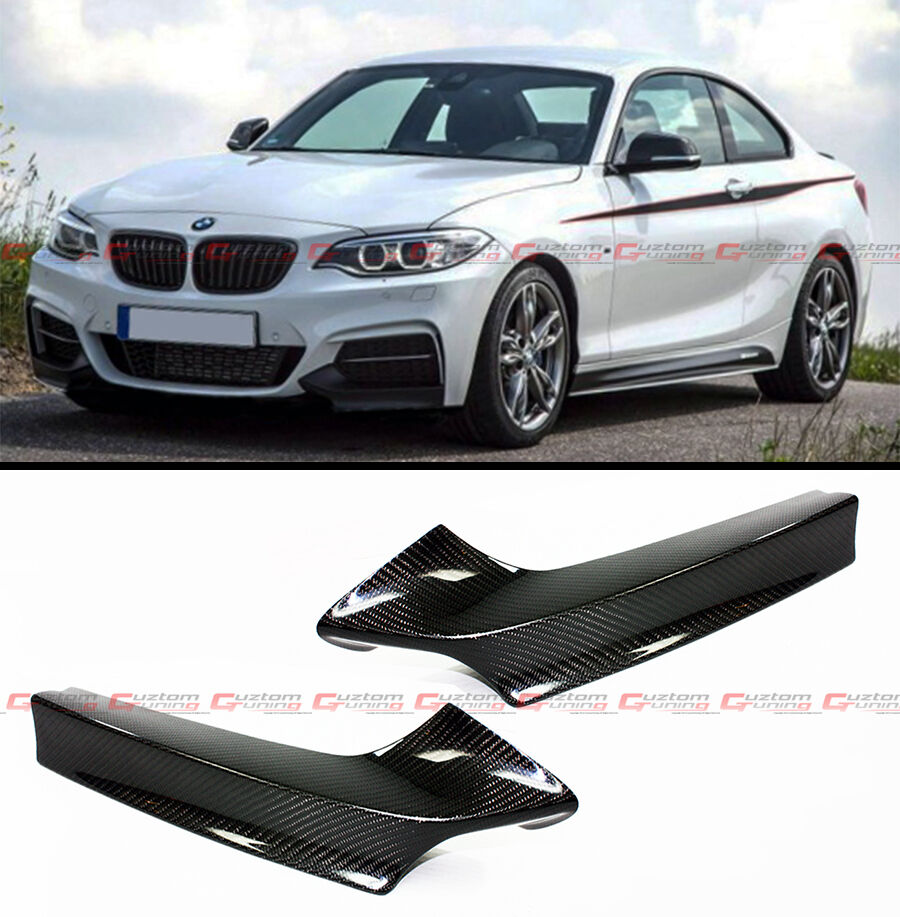 PAIR OF REAL CARBON FIBER FRONT BUMPER SPLITTER KIT FITS