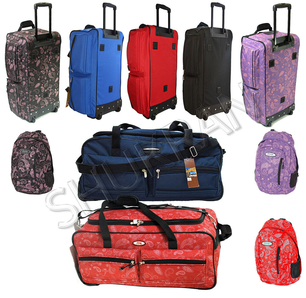 jeep xxl extra large wheeled travel luggage trolley holdall suitcase duffle bag ebay. Black Bedroom Furniture Sets. Home Design Ideas