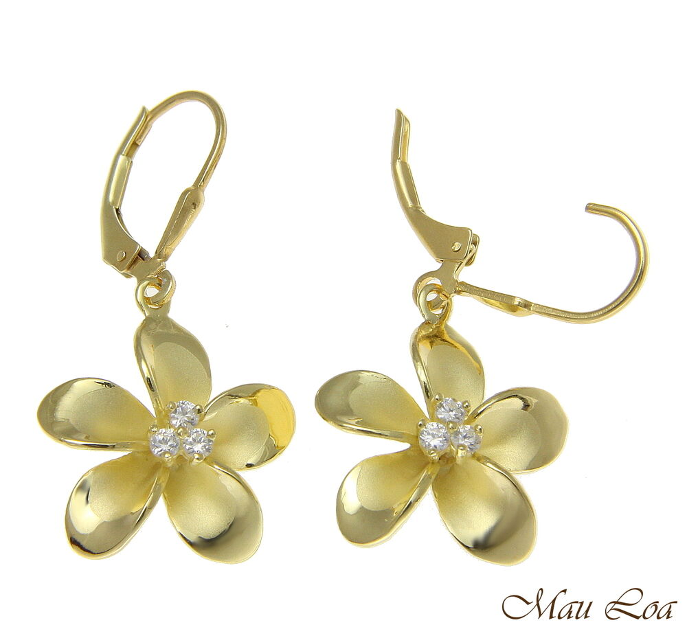 925 sterling silver yellow gold hawaiian plumeria flower 3