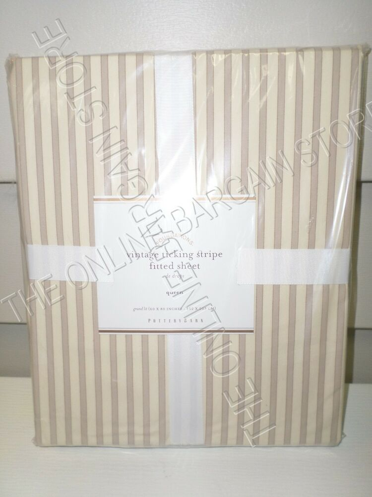 Pottery Barn Vintage Ticking Stripe Bed Fitted Sheet Queen