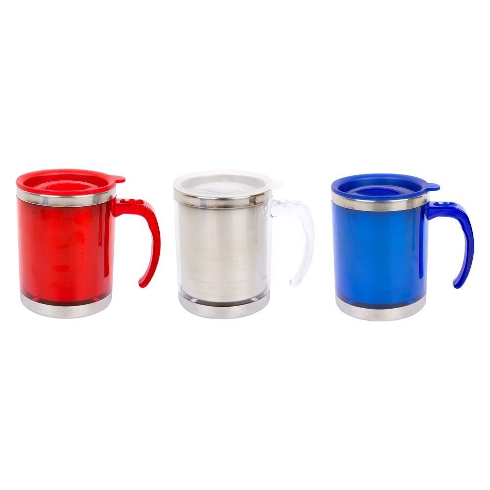 450ml insulated travel camping mug cup coffee hot drink tea handle metal lid ebay. Black Bedroom Furniture Sets. Home Design Ideas