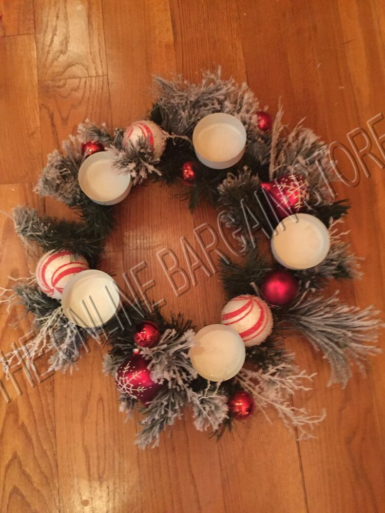 Christmas pillar candle centerpiece frosted wreath