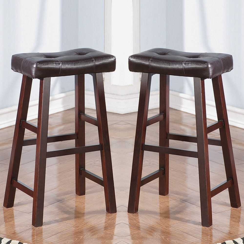 Set of 2 dark cherry faux leather solid wood 29h saddle for Counter height bar stools