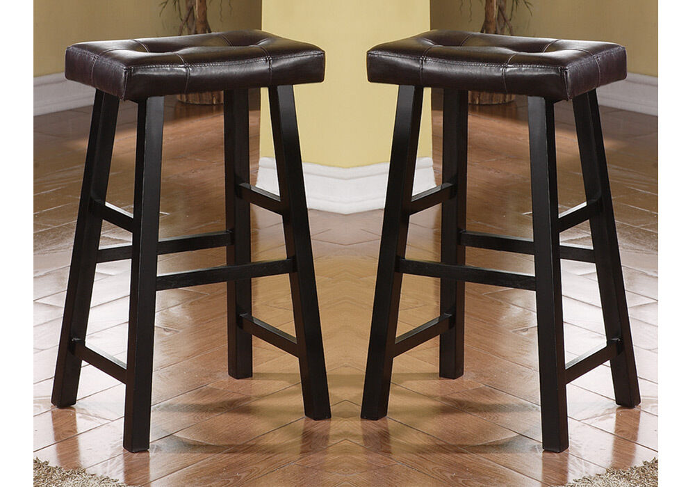 set of 2 brown faux leather seat cushion black solid wood 29 h saddle bar stools ebay. Black Bedroom Furniture Sets. Home Design Ideas