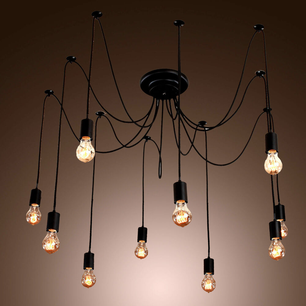 Edison Style 10 Lights Bulb Chandelier Ceiling Light
