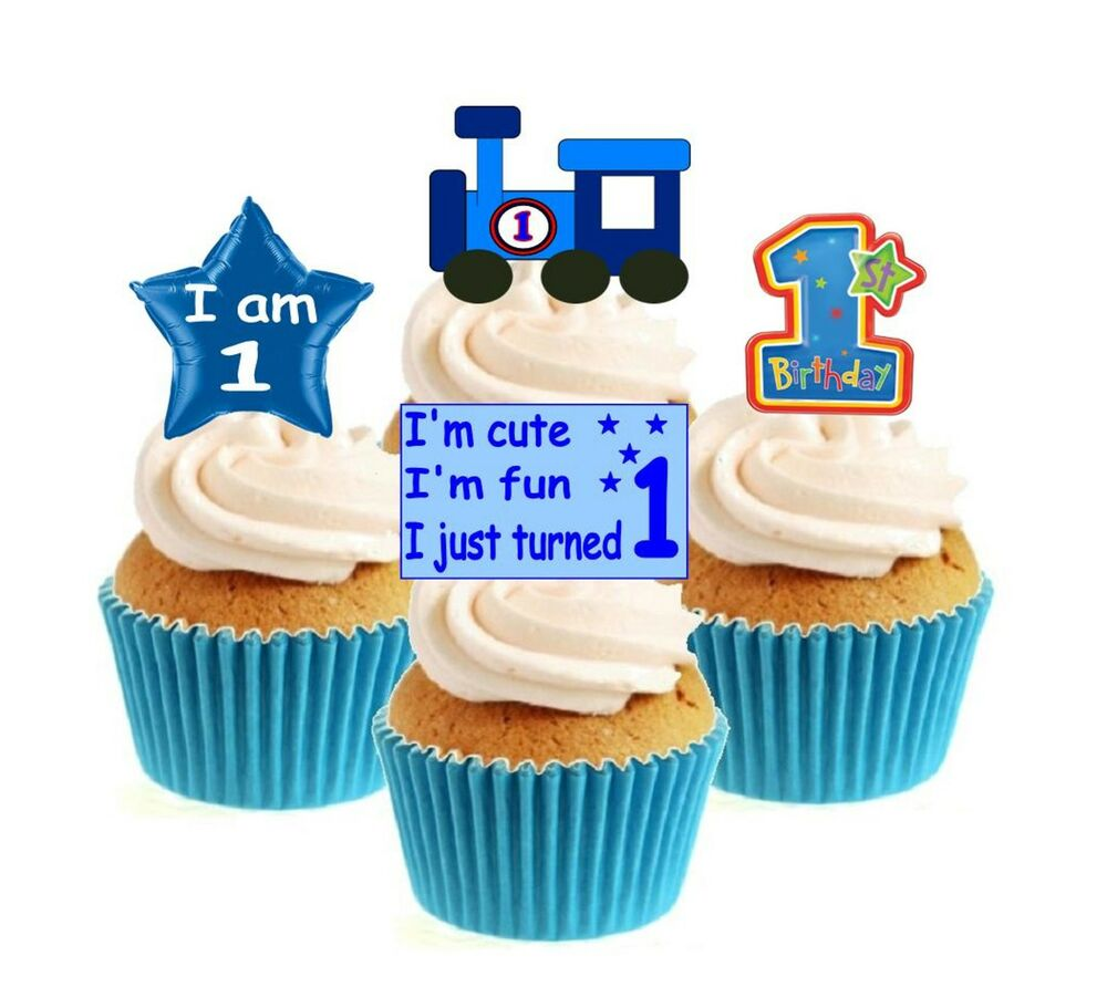 Edible Cake Images 1st Birthday : Novelty 1st Birthday Mix blue 12 Edible Stand Up wafer ...