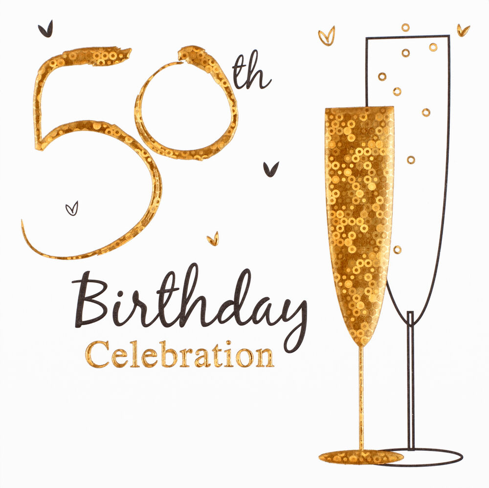 Multi Pack 36 Holographic 50th Birthday Party Card