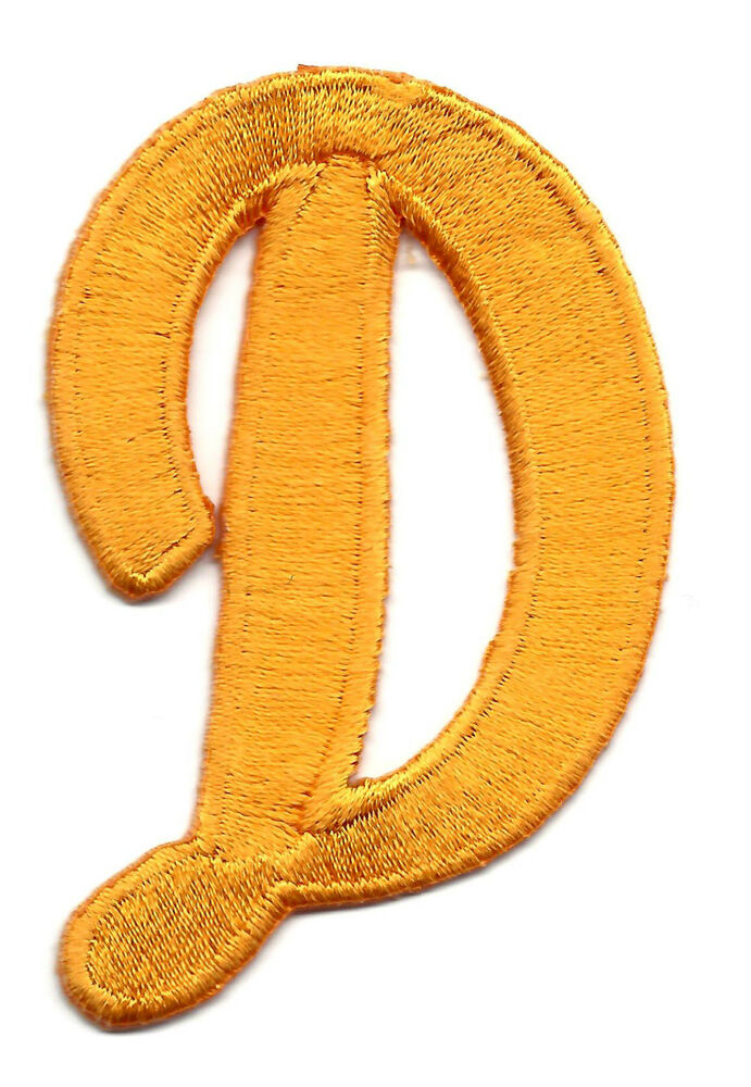 Script gold embroidered letters patch