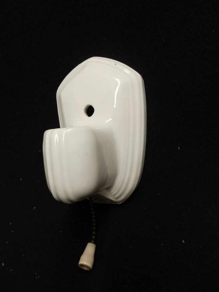 Vintage Ceramic Wall Lights : Vintage White Porcelain Sconce Wall Light Art Deco Paulding Old 4081-15 eBay