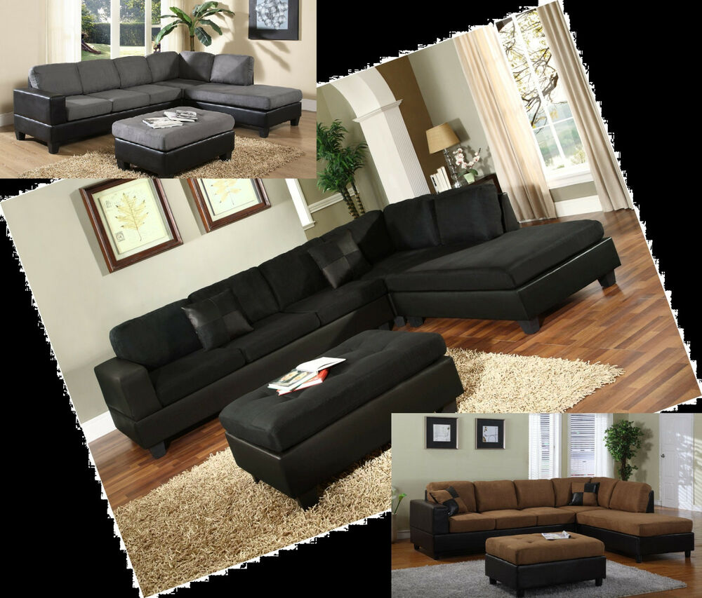 Microfiber Sectionals Black Grey Sofa Couch Sectional
