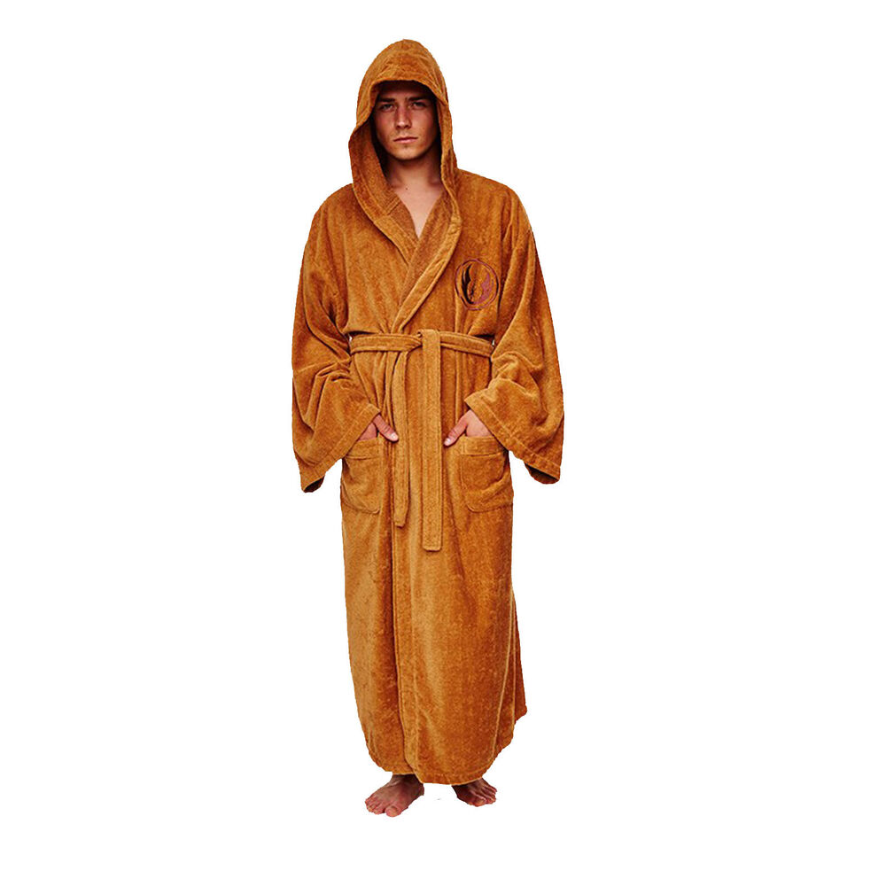 star wars jedi brown mens hooded soft toweling robe dressing gown rrp ebay. Black Bedroom Furniture Sets. Home Design Ideas