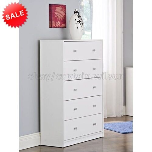 Bedroom storage dresser chest 5 drawer modern wood for Bedroom 5 drawer chest