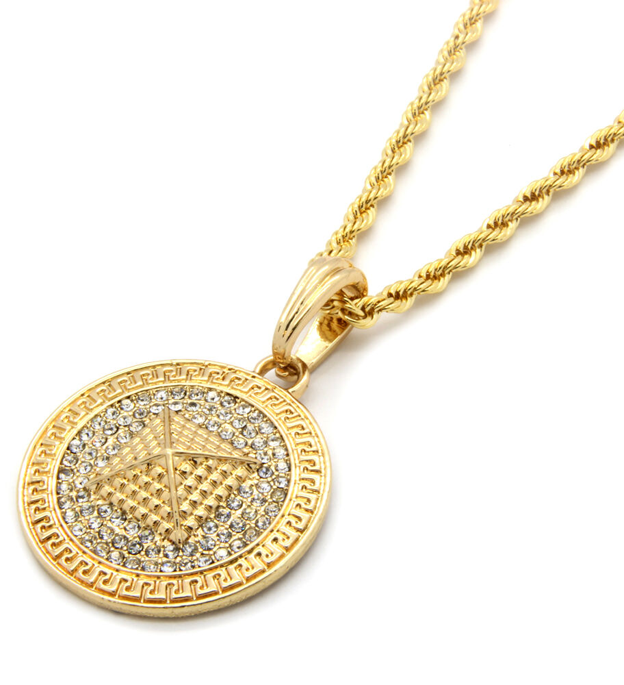 "Mens Medallion Pyramid Pattern Gold Clear 24"" Rope Chain ..."