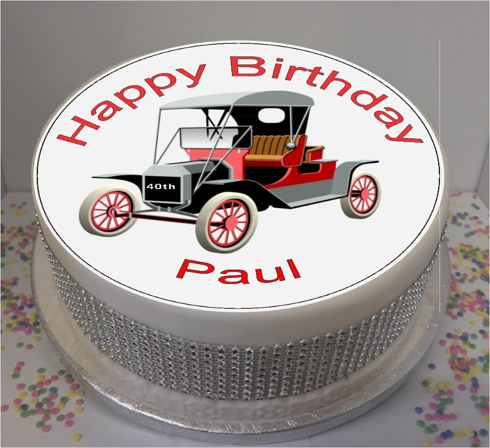 Novelty Personalised Vintage Car 75 Edible Icing Cake Topper