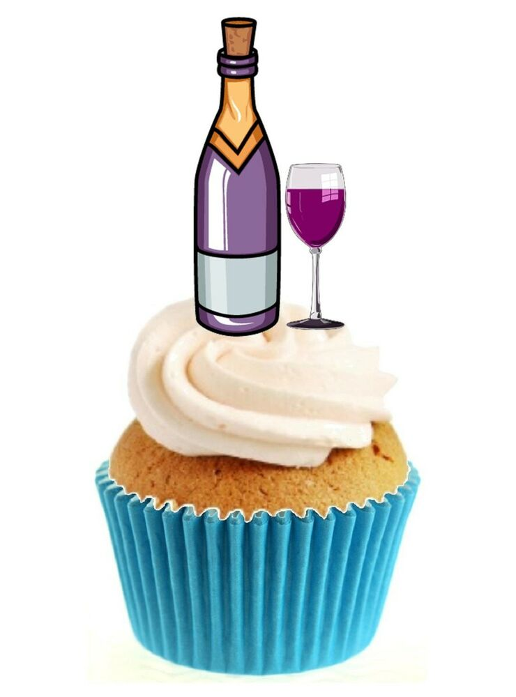 Cake Decorating Wine Bottles : Novelty Wine Bottle & Glass 12 Edible Stand Up wafer paper ...