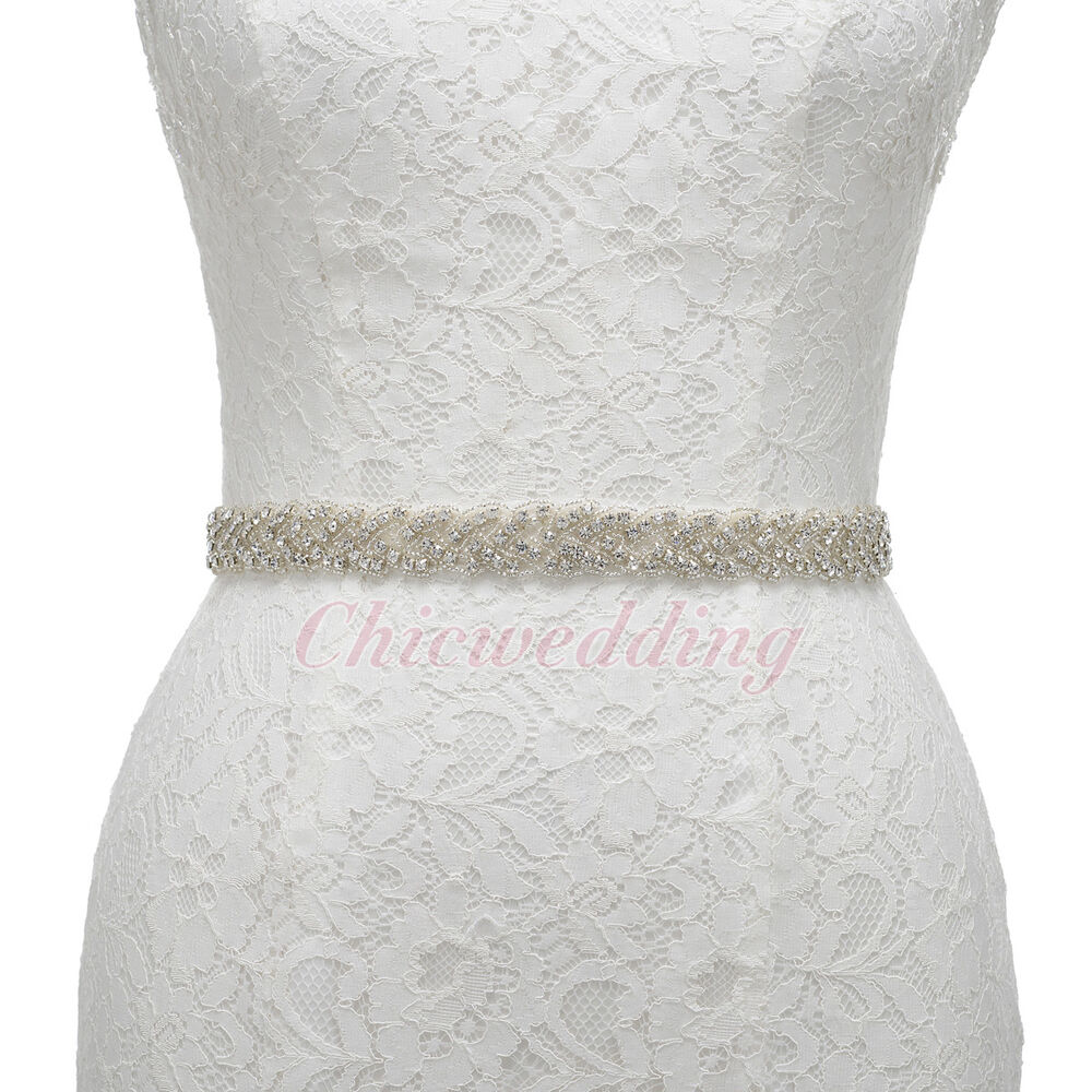 New ivory bridal sash belt wedding dress belt rhinestone for Ivory wedding dress sash