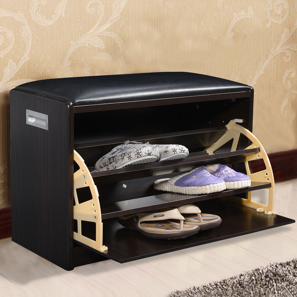 Wood Shoe Storage Bench Ottoman Cabinet Closet Shelf