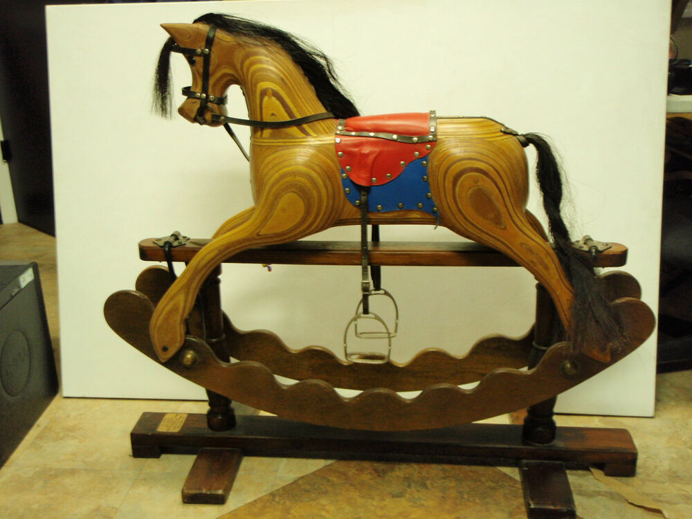 Beautiful hand made wooden rocking horse made by ian for Hand crafted rocking horse