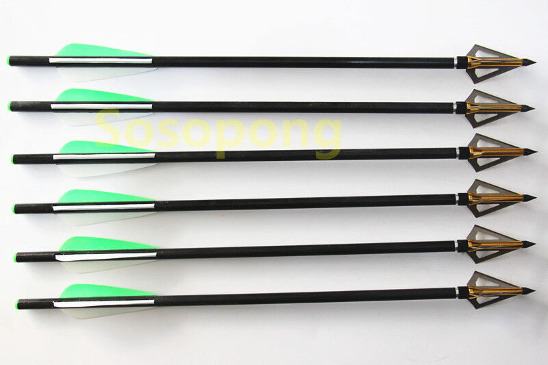 6pc crossbow bolts arrow 13 4 6x 125gr broadheads for Crossbow fishing bolts
