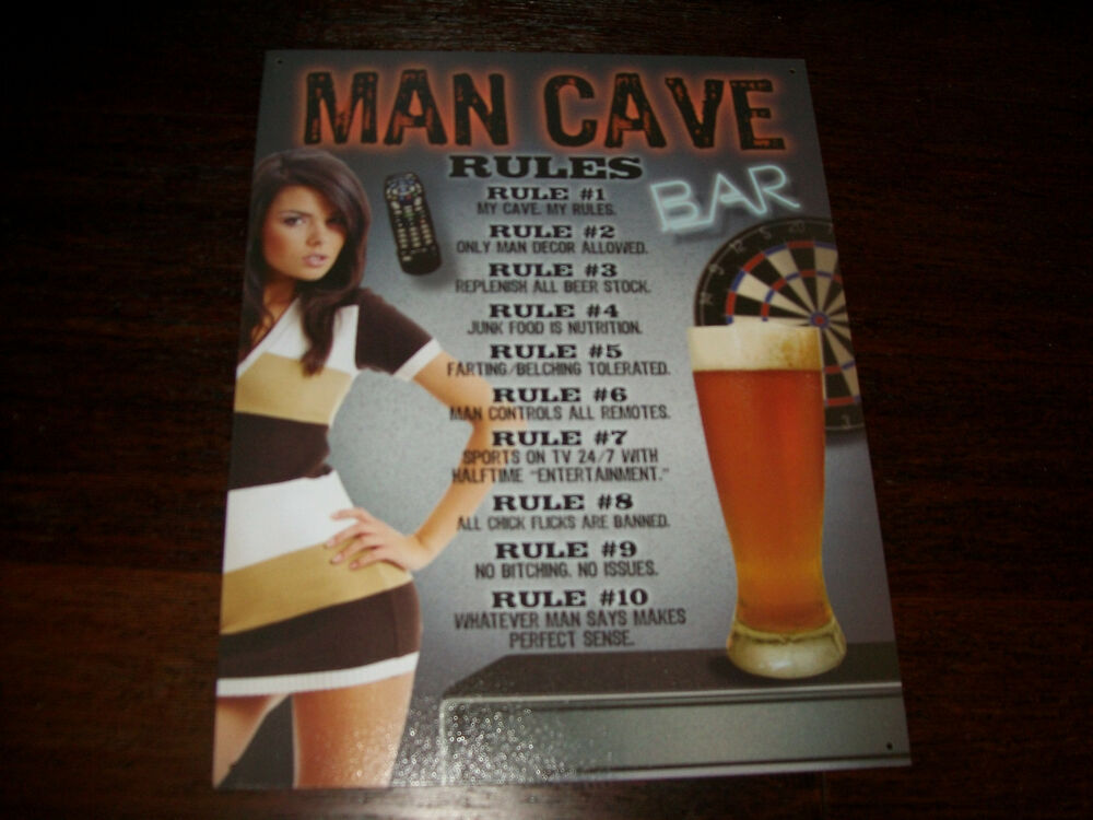 Man Cave Signs For Sale : Man cave rules sexy girl beer new tin metal sign bar ebay
