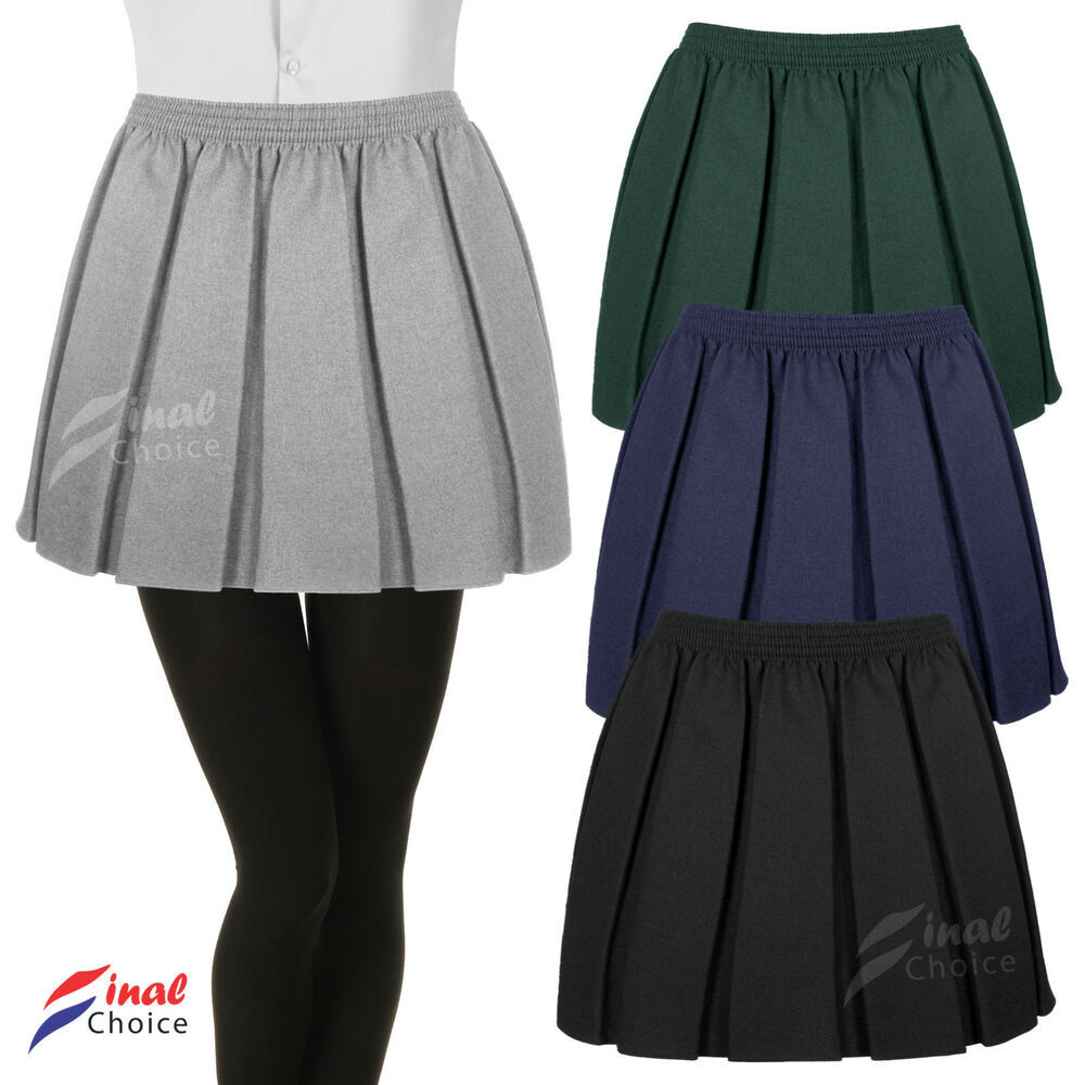 new box pleated fully elasticated skirt school