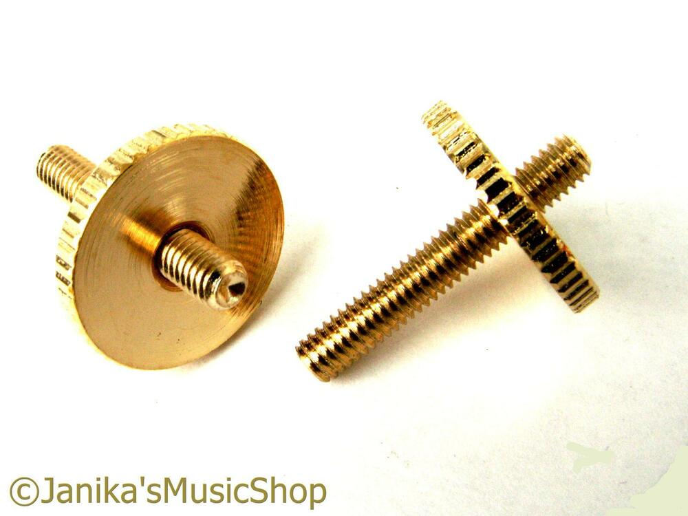 2 gold height adjusting thumb wheels posts guitar bridge screws tune o matic ebay. Black Bedroom Furniture Sets. Home Design Ideas