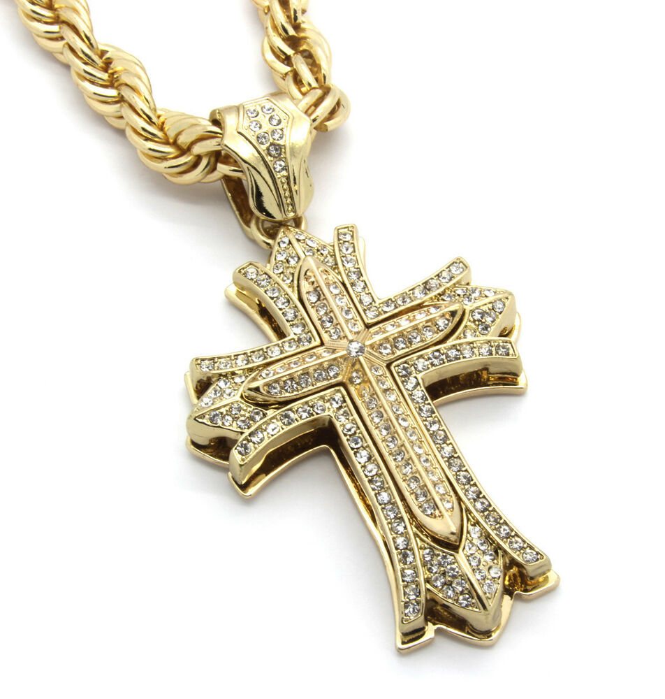 mens large thick cross gold plated iced out pendant 30
