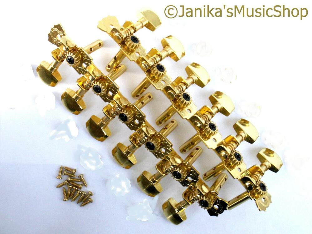12 string guitar machine heads gold buttons screws slotted headstock tuners new ebay. Black Bedroom Furniture Sets. Home Design Ideas