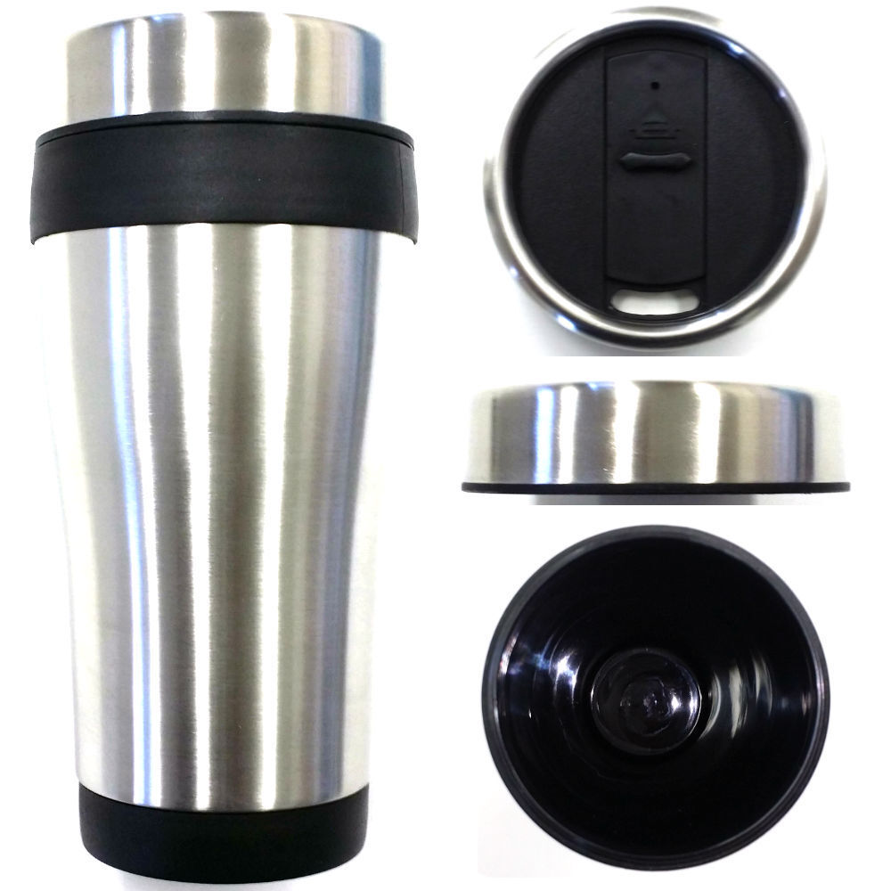 black 16oz outer stainless steel plastic interior travel coffee mug cup tumbler ebay. Black Bedroom Furniture Sets. Home Design Ideas
