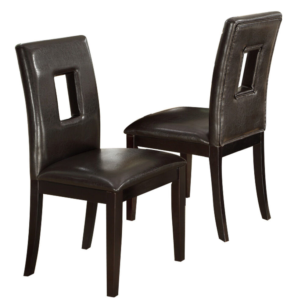 Set Of 2 Dining Room Furniture Brown Leather Dining: Set Of 2 Upholstered High Back Dining Side Chair Stool