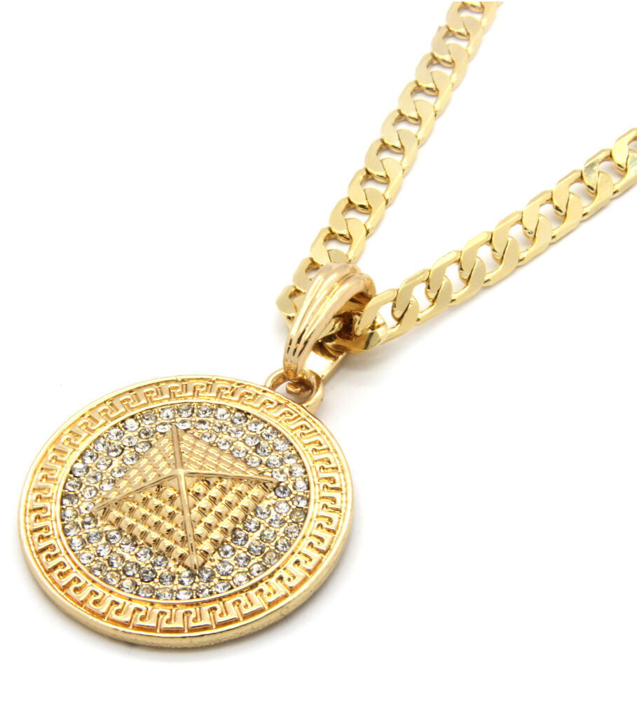 "Mens Medallion Pyramid Pattern Gold Clear 24"" Cuban Curb ..."