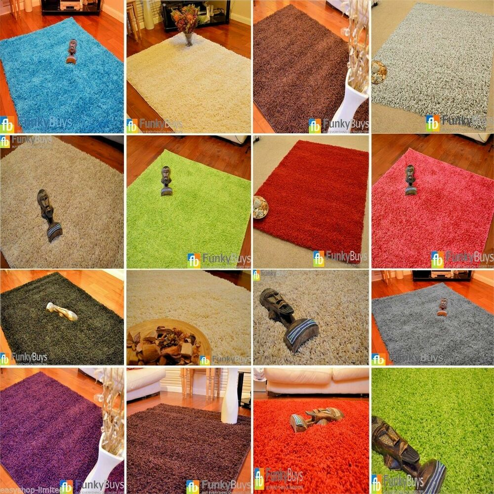 Xl Purple Rug: Small Large XL Size Thick Plain Soft Shaggy Rugs Non Shed