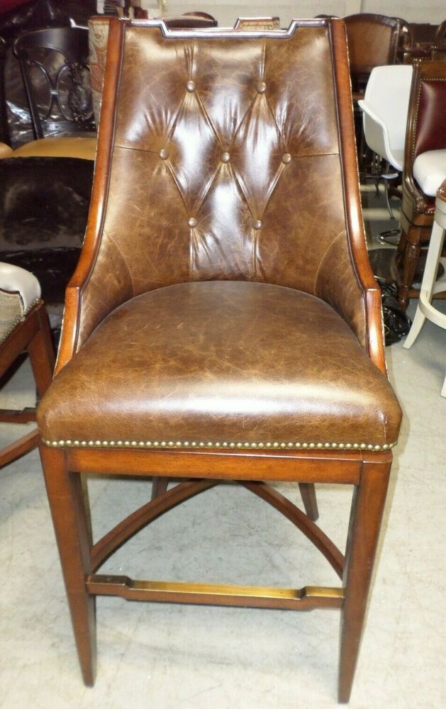Frontgate Bradford Tufted Sc Brown Leather Barstool Bar 30
