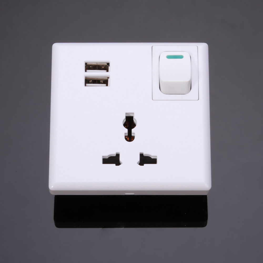 Ac Power Socket Receptacle Wall Charger Outlet Plate With