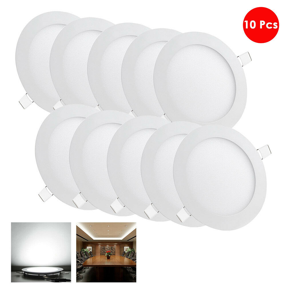 Led Lights Integrated Ceiling Panel Lights Ceiling Lights: 10 Pack 9W Round Recessed LED Panel Light Ceiling Down