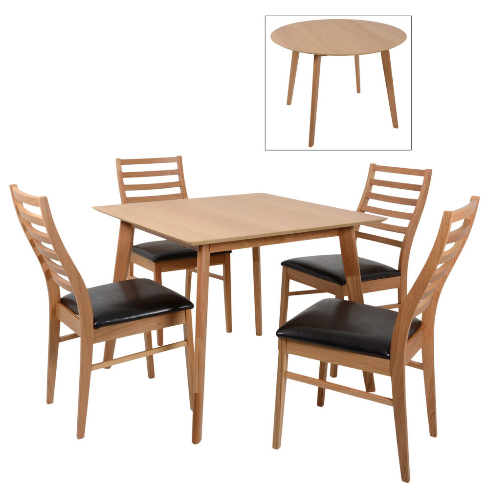 Mackintosh round square oak wooden dining table furniture set 4 wooden chairs ebay Wooden dining table and chairs