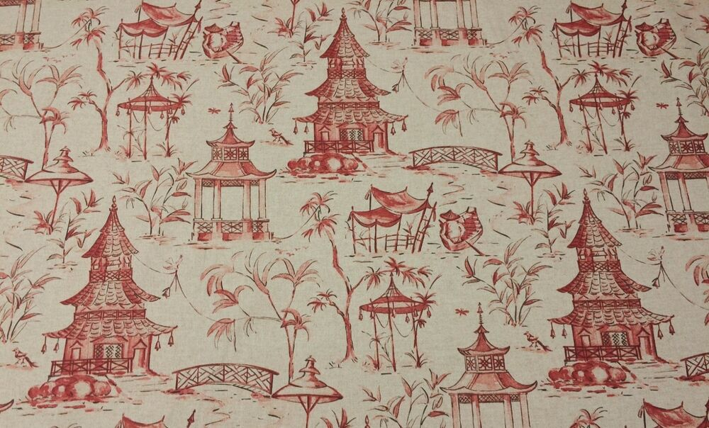 ... PAGODAS CORAL RED DANISH LINEN CHINOISERIE FABRIC BY THE YARD | eBay
