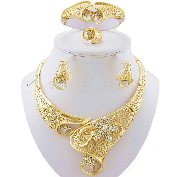 Women african jewelry sets gold plated alloy wedding for Is gold plated jewelry worth anything