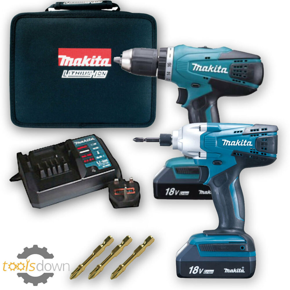 makita 18v cordless lithium twin pack x1 impact driver x1. Black Bedroom Furniture Sets. Home Design Ideas