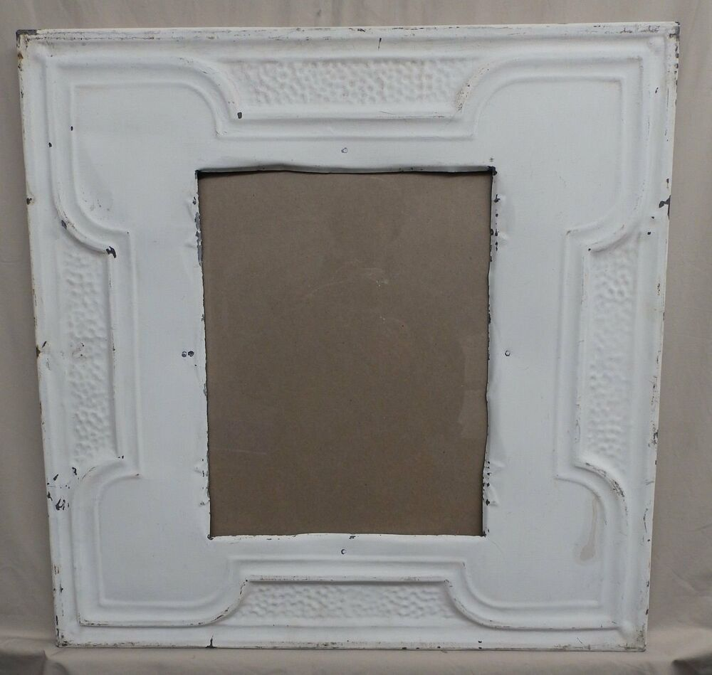 antique repurposed tin ceiling metal 11x14 white picture frame recycled 4131 15 ebay. Black Bedroom Furniture Sets. Home Design Ideas
