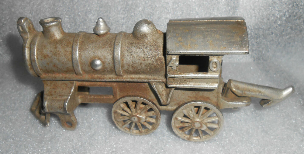 Nycrr Cast Iron Train: Old Cast Iron Nickle Plated Locomotive Train Engine Toy