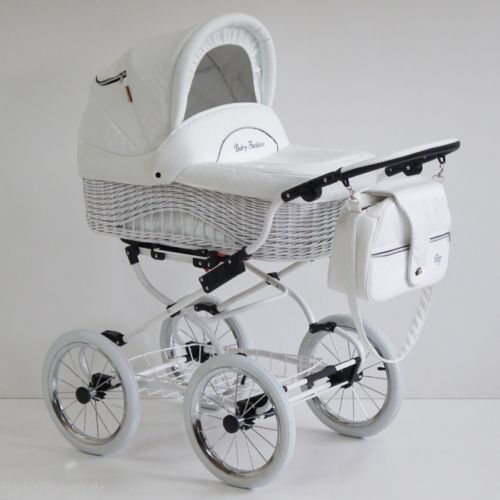 baby fashion scarlett retro wicker baby pram pushchair 2in1 white leatherette ebay. Black Bedroom Furniture Sets. Home Design Ideas