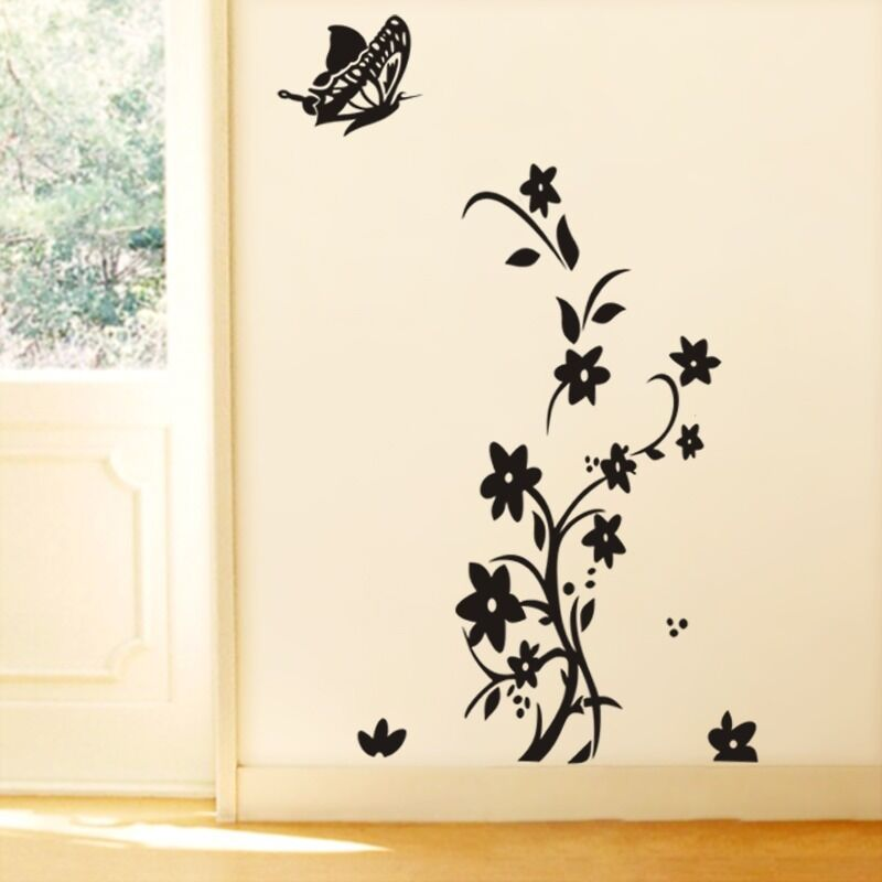 Black white butterfly beautiful art vinyl wall stickers for Butterfly wall mural stickers