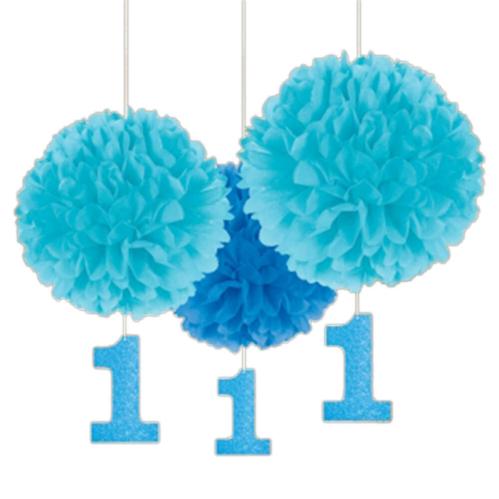 Blue 1st First Birthday Boy Party Fluffy Paper Ball Hanging ...