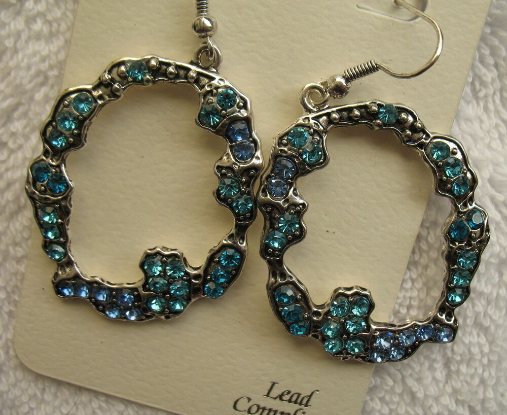New turquoise blue rhinestone earrings silver fashion for Turquoise colored fashion jewelry