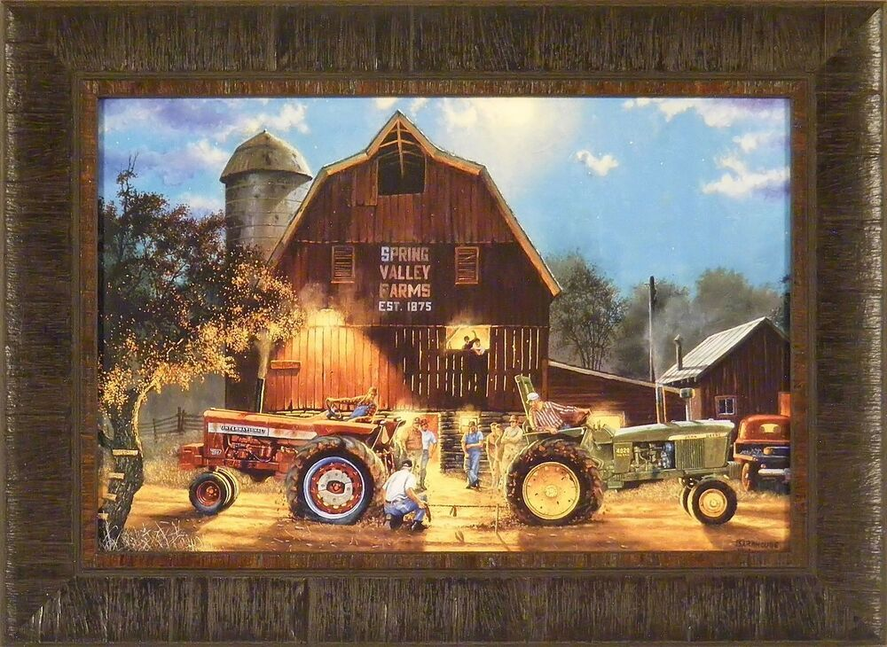 Tractor Pull Artwork : The rematch by dave barnhouse framed print farmall