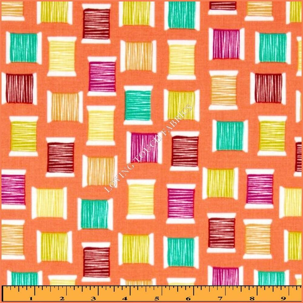 Michael miller cool spools sewing theme thread cotton for Cotton sewing material
